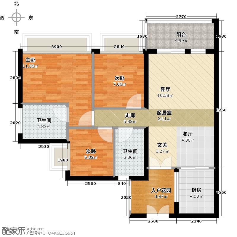 东方新世界1C05单位户型3室2卫1厨