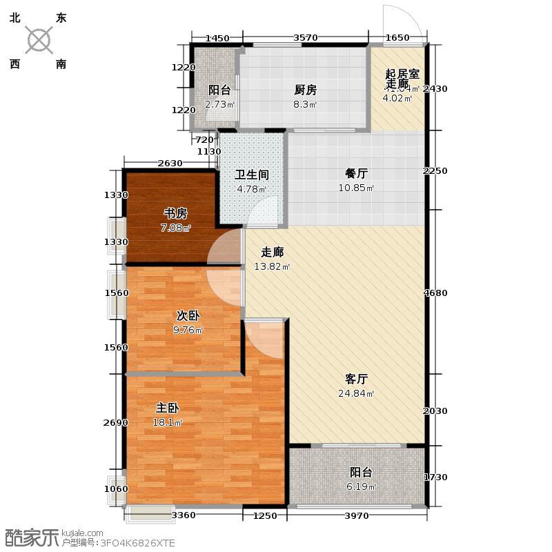 碧桂园豪庭J74北二楼1栋02单位南向户型3室1卫1厨