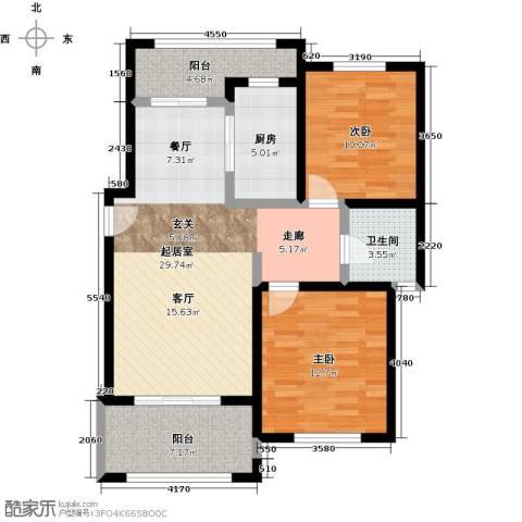 宝华盛世花园2室0厅1卫1厨87.00㎡户型图