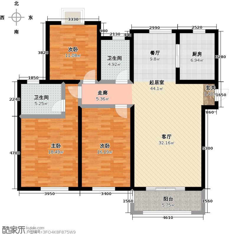 远洋香奈新品H户型3室2卫1厨