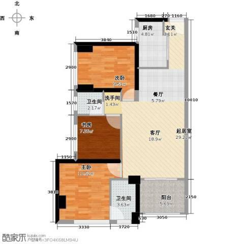 万科广场3室0厅2卫1厨86.00㎡户型图