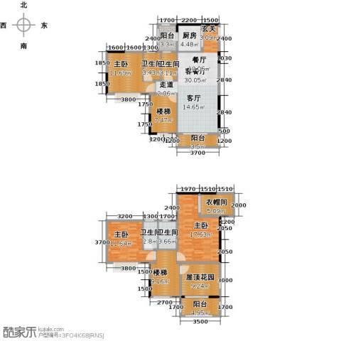 金田花园3室1厅4卫1厨186.00㎡户型图