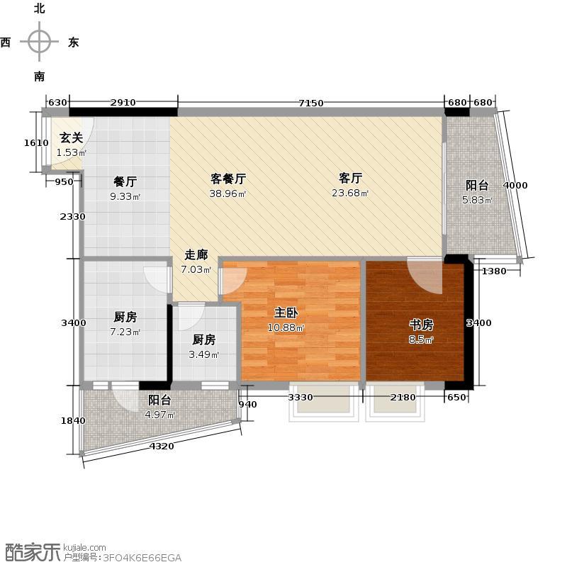 银山尚橙14-28层01单元东南向户型2室1厅2厨