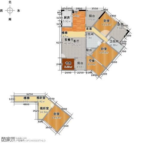 汇景・上层1室1厅2卫1厨212.00㎡户型图