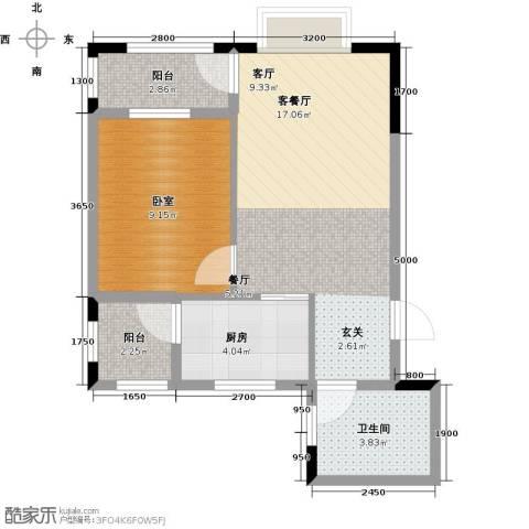 金田花园花域1厅1卫1厨56.00㎡户型图