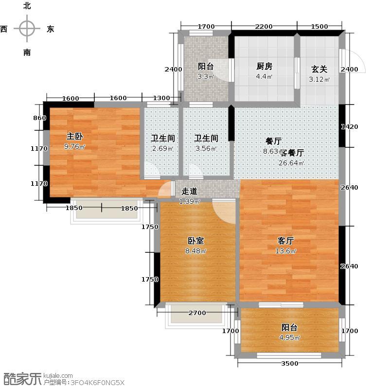 金田花园花域户型1室1厅2卫1厨