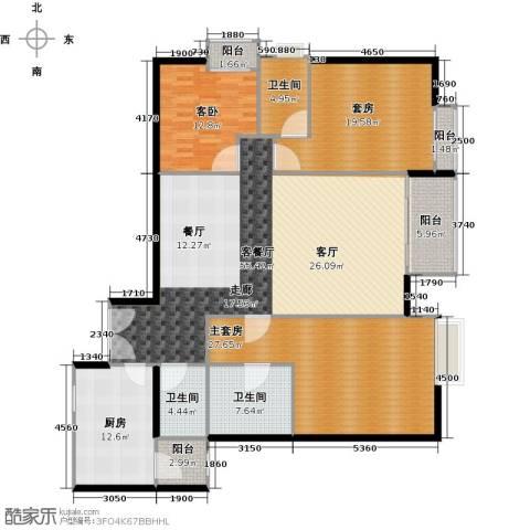 富力公园281室1厅3卫1厨163.00㎡户型图