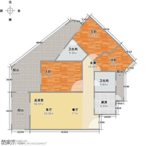 中州国际酒店3室0厅2卫1厨144.45㎡户型图