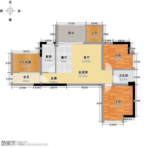 深房传麒山2室0厅1卫1厨88.00㎡户型图