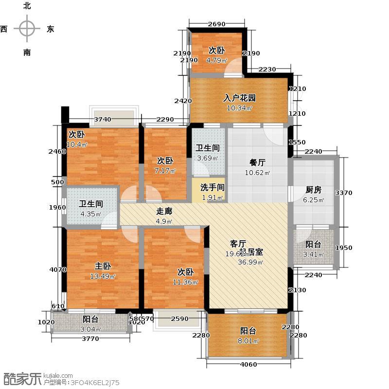 深房传麒山141.00㎡10栋A单元4D型户型5室2厅2卫