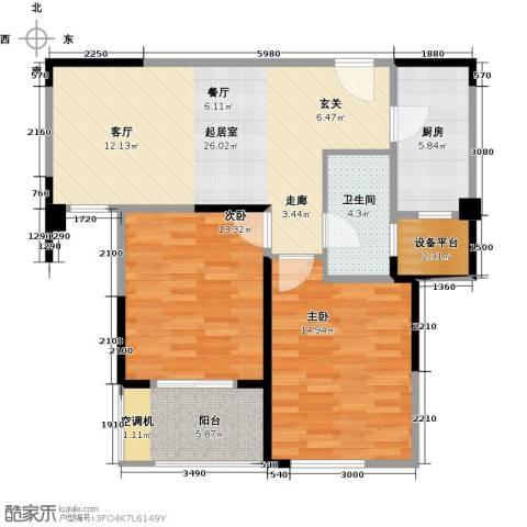 骏丰玲珑坊2室0厅1卫1厨101.00㎡户型图
