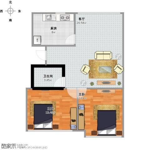 平政安居小区2室1厅1卫1厨68.35㎡户型图