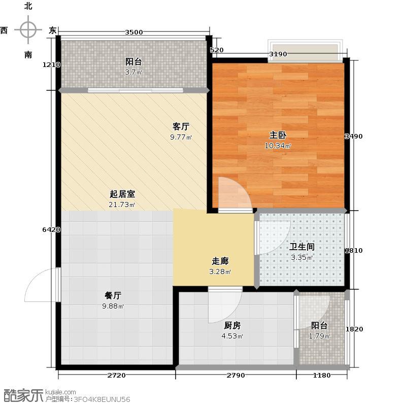 骏逸第一江岸孔雀湾二期12号楼D户型1室1卫1厨