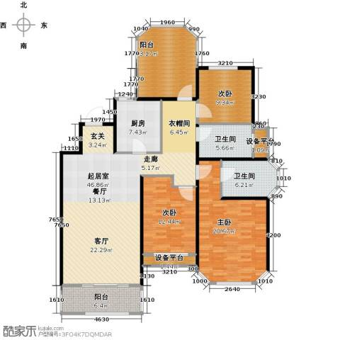 金地松江艺境3室0厅2卫1厨144.00㎡户型图