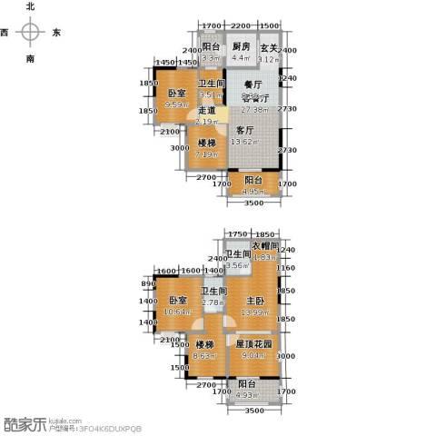 金田花园1室1厅3卫1厨164.00㎡户型图