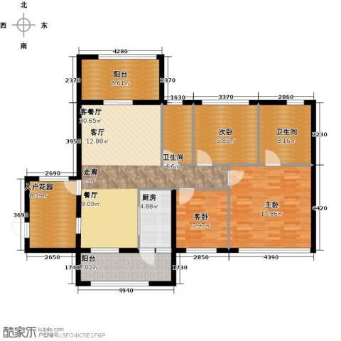 欣荣宏国际商贸城3室1厅2卫1厨121.00㎡户型图