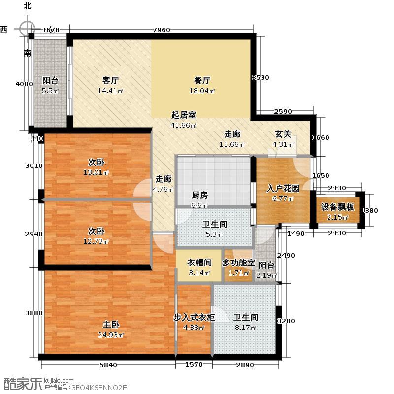 嘉裕公馆C栋04单位西向户型3室2卫1厨