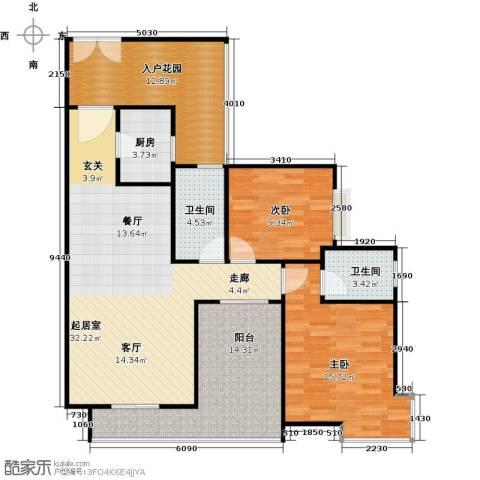 新世纪星城海涛居2室0厅2卫1厨104.00㎡户型图