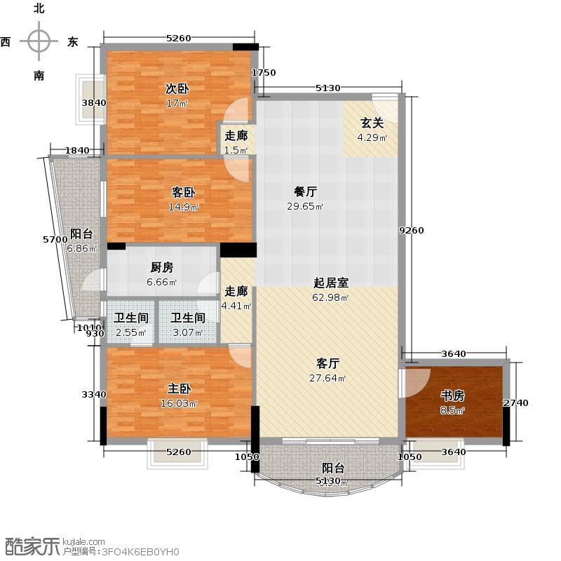 银山尚橙24-28层04单元西南向户型4室2卫1厨