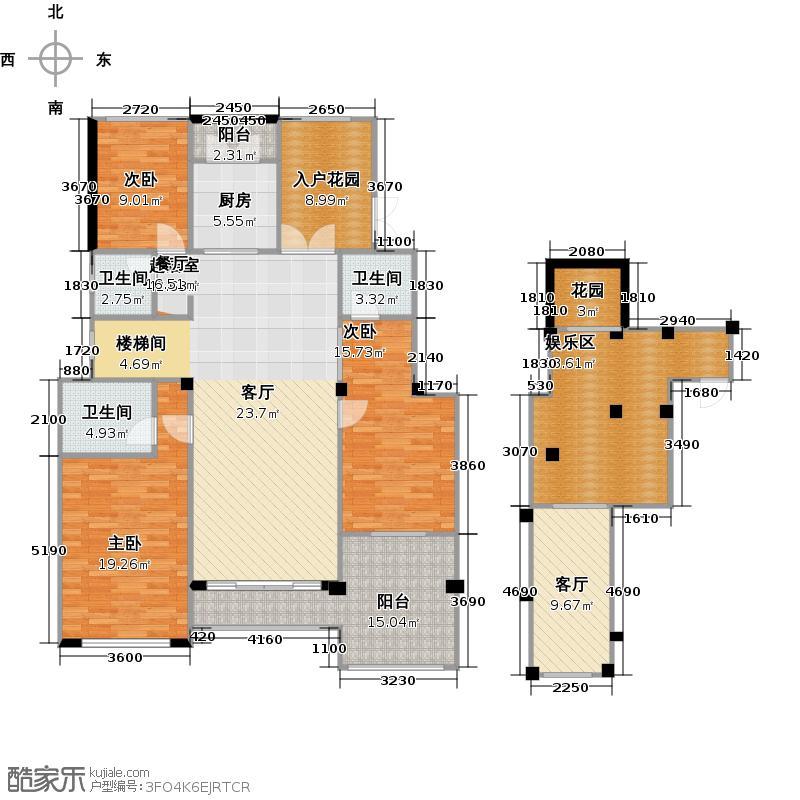 金科世界城・绫罗万千洋房B+户型3室1厅3卫1厨