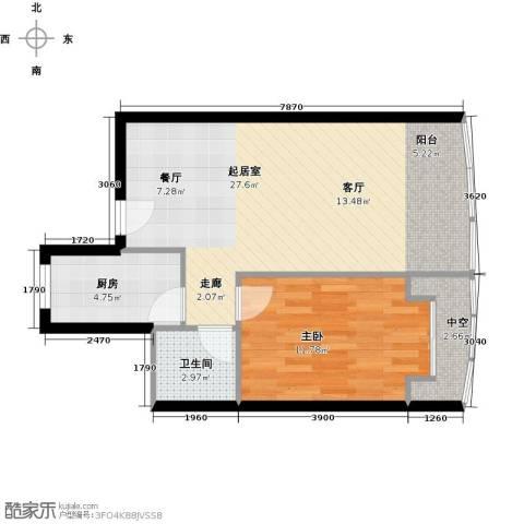 山水兰庭1室0厅1卫1厨53.00㎡户型图
