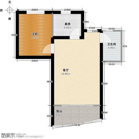山水兰庭1室1厅1卫1厨53.00㎡户型图