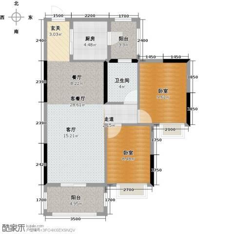 金田花园花域1厅1卫1厨89.00㎡户型图