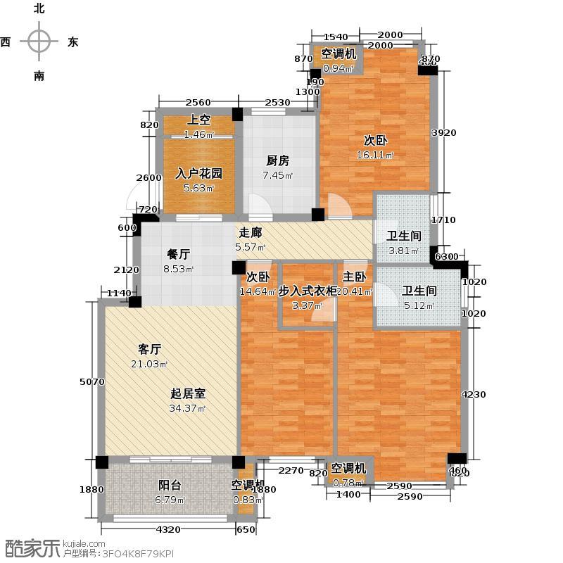 玫瑰园洋房户型3室2卫1厨