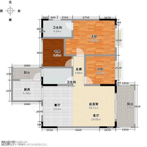 兴茂盛世华都3室0厅2卫1厨103.00㎡户型图