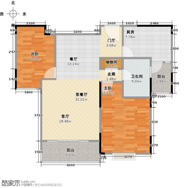 新城御景户型2室1厅1卫1厨