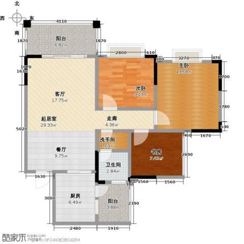 兴茂盛世华都3室0厅1卫1厨91.00㎡户型图