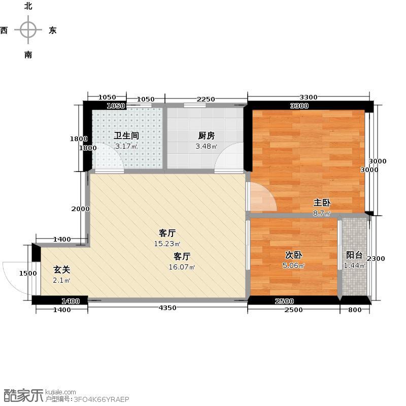 高家庄赞城公寓Q1户型2室1厅1卫1厨