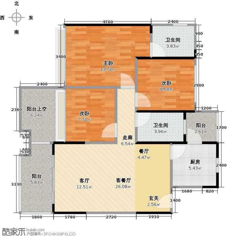 承翰陶源花园89.00㎡1E-1户型三房两厅两卫户型3室2厅2卫