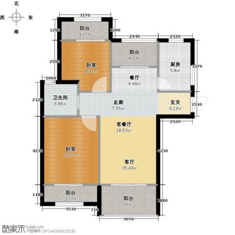 天居玲珑湾1厅1卫1厨86.00㎡户型图