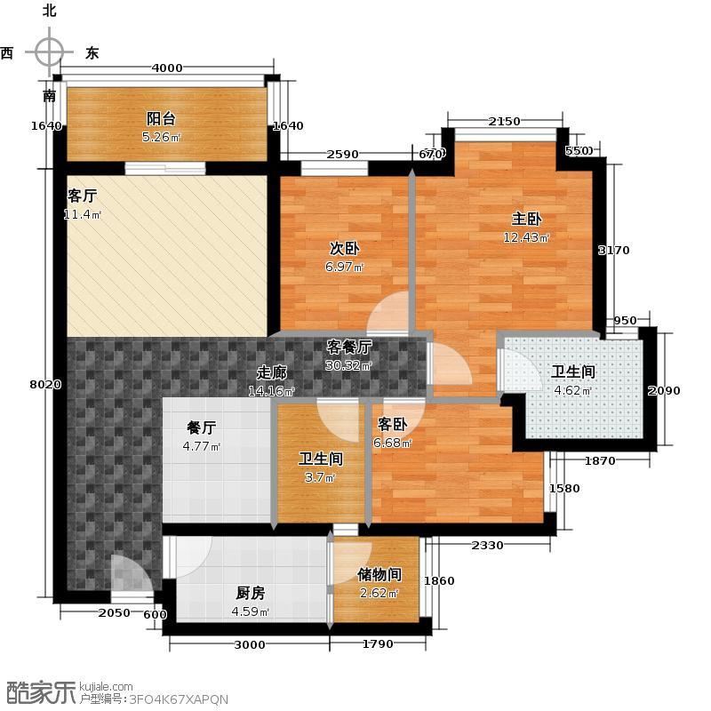 顺欣花园2期17栋奇数层02单位户型3室1厅2卫1厨