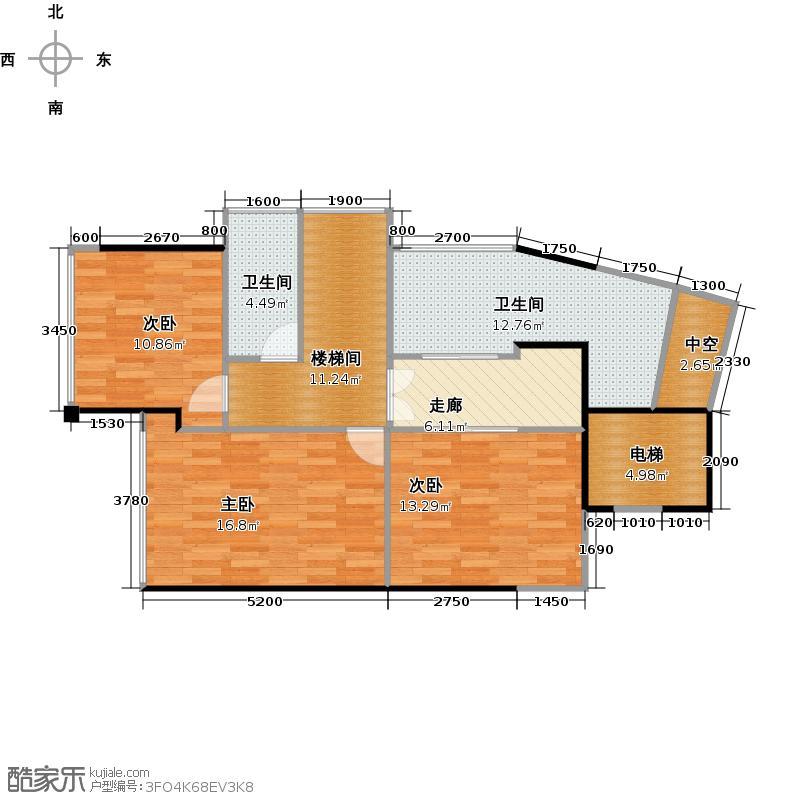 阅山公馆88.00㎡1-2栋C-D户型复式2层户型4室2厅3卫