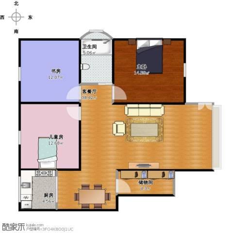 湖滨公寓3室1厅1卫1厨122.00㎡户型图