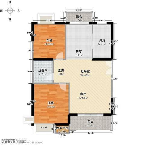 骏丰嘉骊花园2室0厅1卫1厨85.00㎡户型图