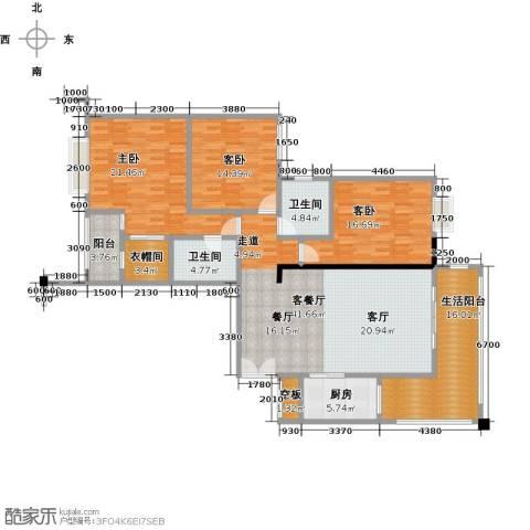盛和新都会3室1厅2卫1厨188.00㎡户型图