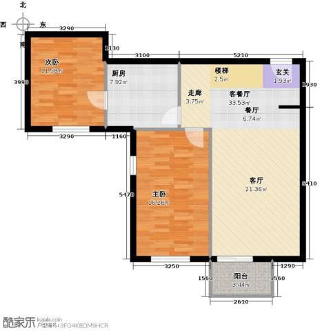 珠江拉维小镇2室1厅0卫1厨100.00㎡户型图