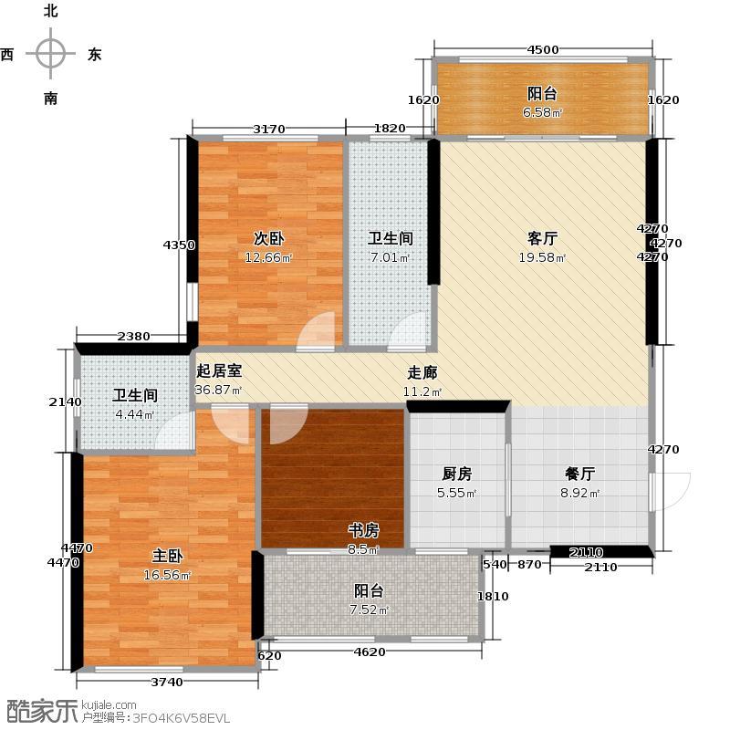 兴汇城7#A3-3户型3室2卫1厨
