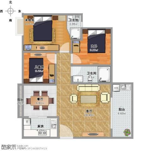 公明合水口农民房2室1厅2卫1厨99.00㎡户型图