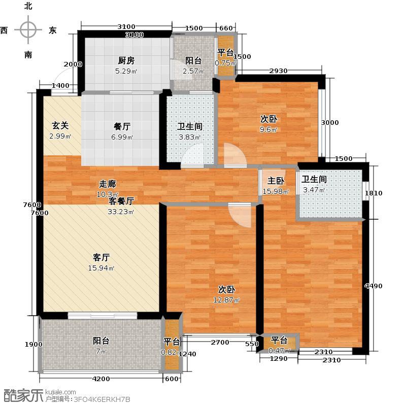 新神风金牛座C2户型3室1厅2卫1厨