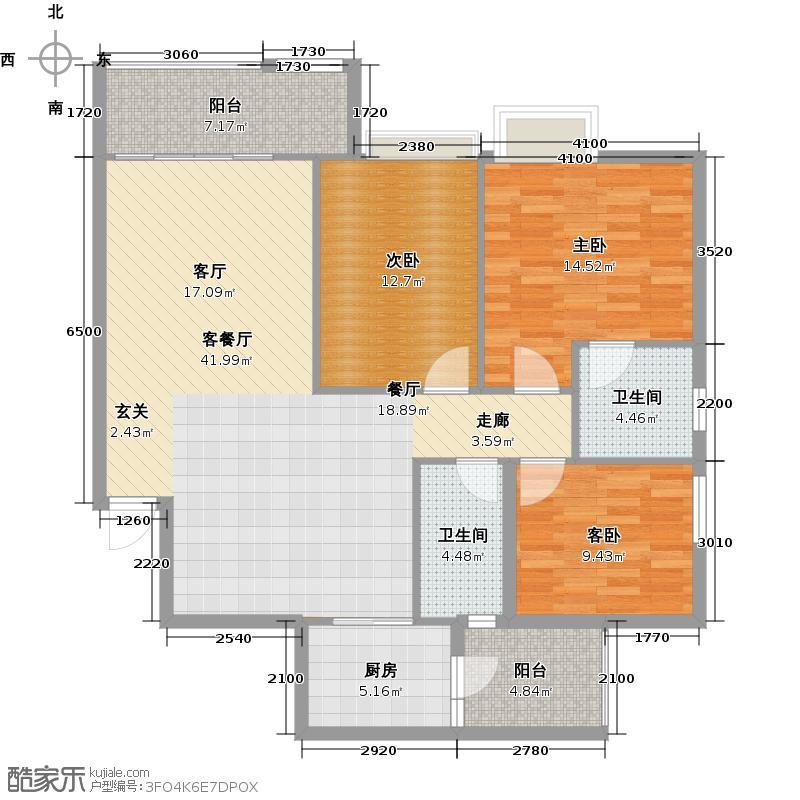 丽海雅居A1栋17-27层04单元户型3室1厅2卫1厨