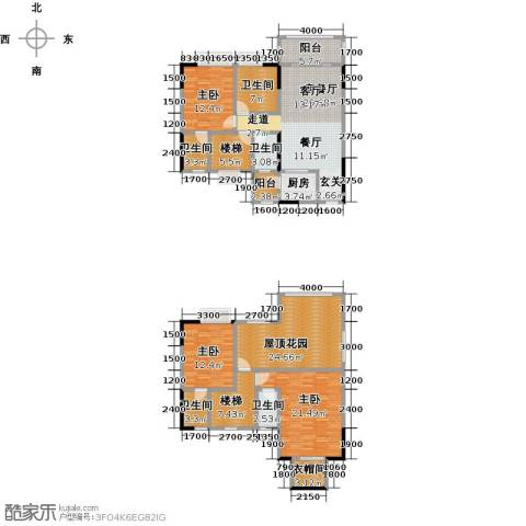 金田花园3室1厅5卫1厨160.00㎡户型图