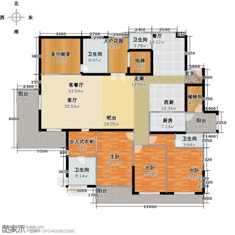 中信西关海320.00㎡1栋02房户型4室2厅3卫