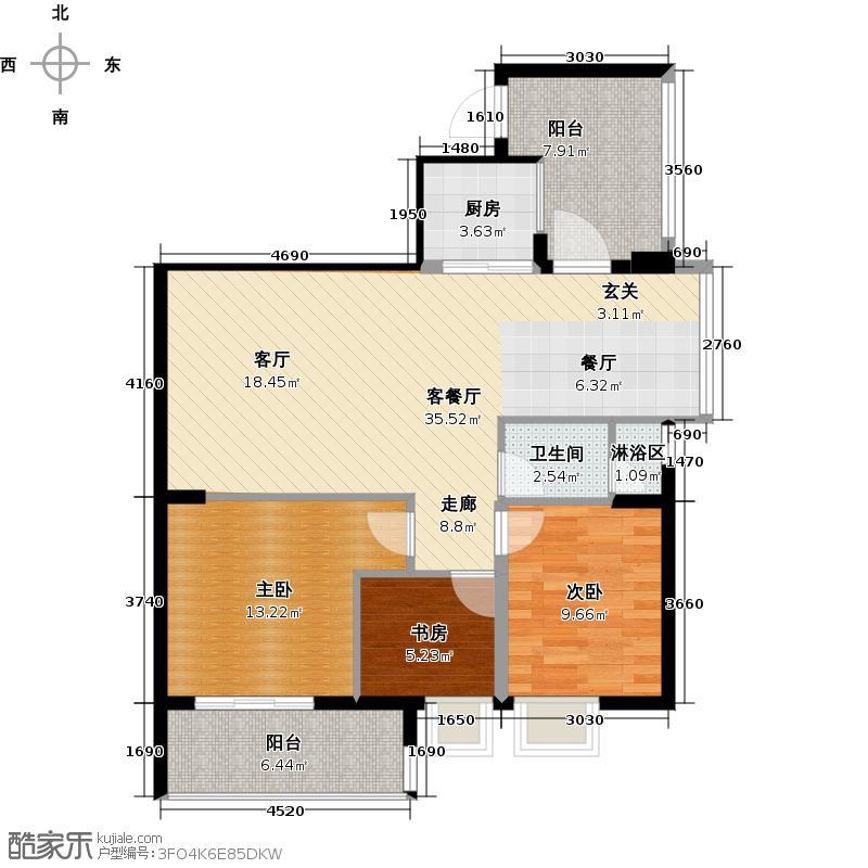 丽海雅居B栋4-14层01单元户型3室1厅1卫1厨