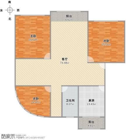 大华锦绣华城第19街区3室1厅1卫1厨217.00㎡户型图