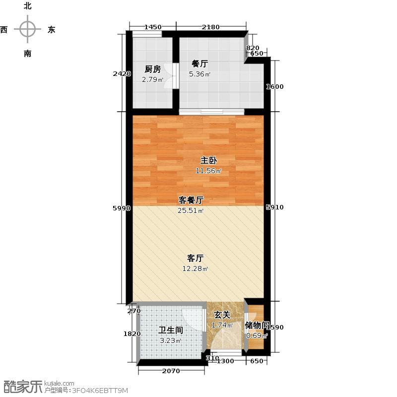 新世纪星城美寓户型2厅1卫1厨