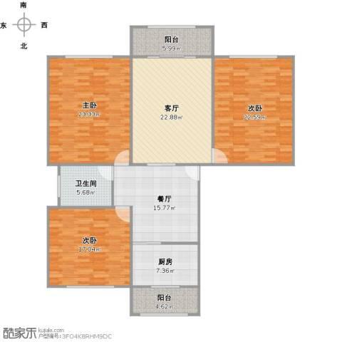 上南玲珑苑3室2厅1卫1厨167.00㎡户型图